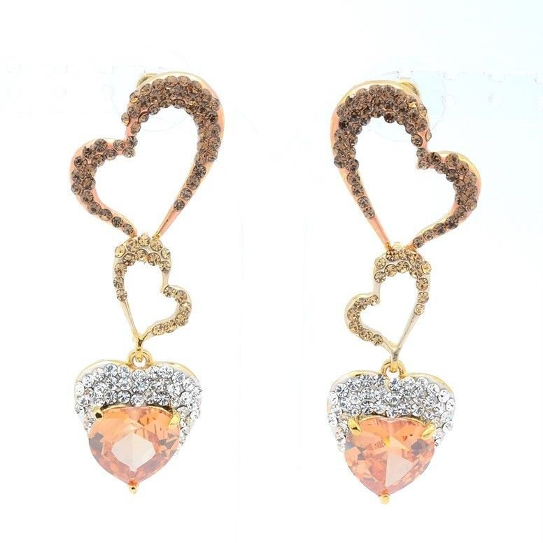 H-Quality Brown Heart Zircon Pierced Earring Jewelry Rhinestone Crystals 375201
