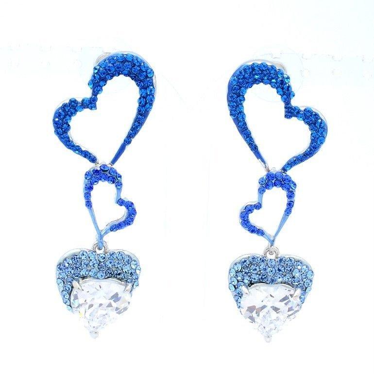 H-Quality Rhinestone Crystals Blue Heart Pierced W Zircon Earring Jewelry 375401