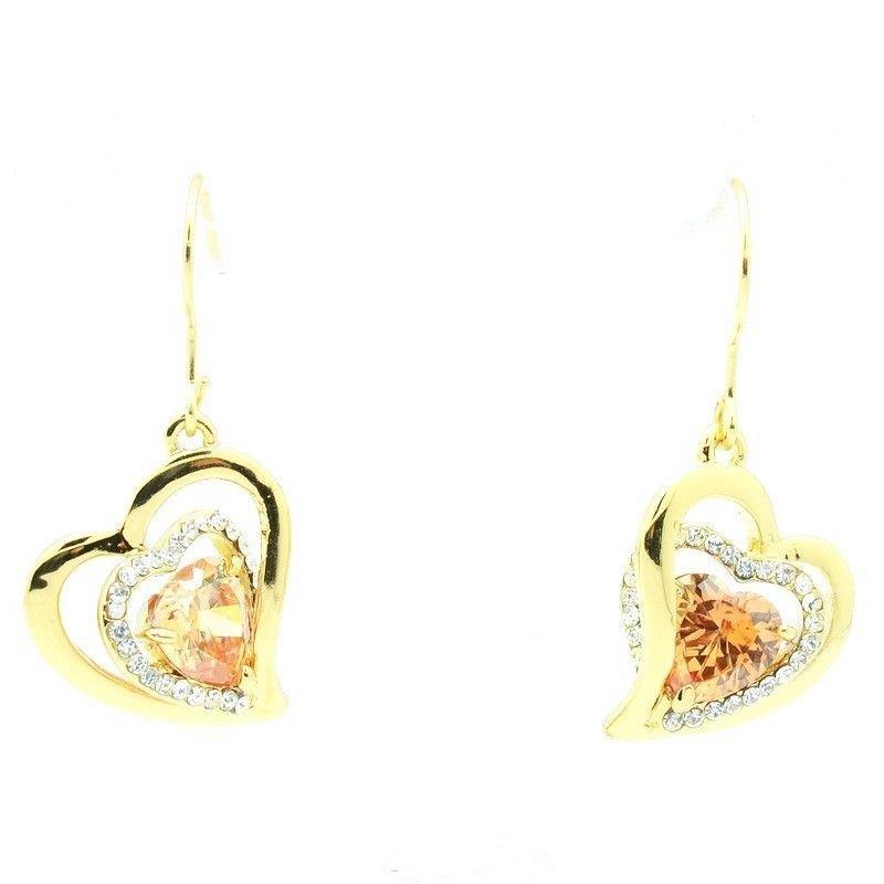 Women Jewelry Swarovski Crystal Dangle Heart Topaz Zircon Pierced Earring 791201