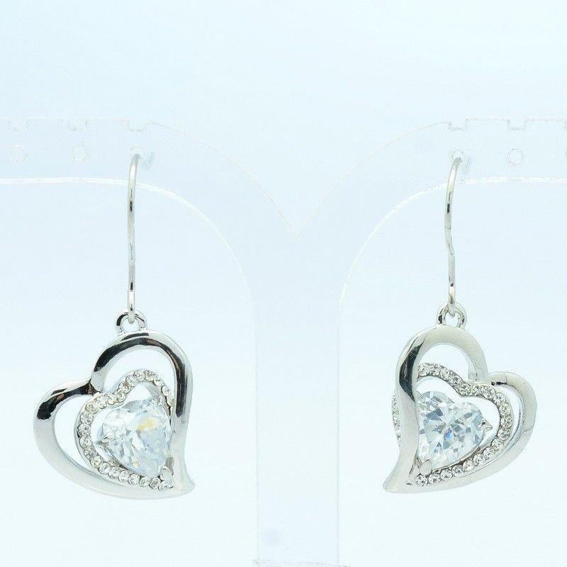 Rhinestone Crystal Double Pith Heart Pierced Earring Dangle Zircon Jewelry 91101