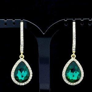 Green Water Drop Dangle Earring Clear Rhinestone Crystals Women's Jewelry 214114