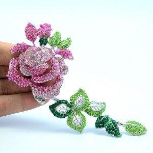 Women Long Rose Flower Leaf Brooch Broach Pins Pink Rhinestone Crystals 4228