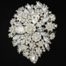 "5pcs Swarovski Crystal Bridal Clear Flower Brooch Pin 3.9"" For Wedding Wholesale"