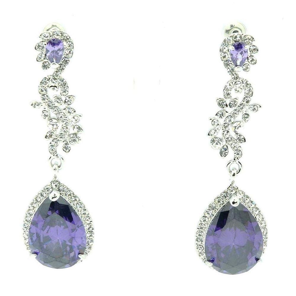Rhinestone Crystals Purple Zircon Flower Drop Dangle Earring For Women 20528
