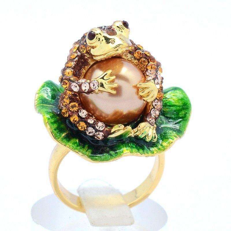 Excellent Brown Froggy Frog Cocktail Ring Size:Adjustable Swarovski Crystals