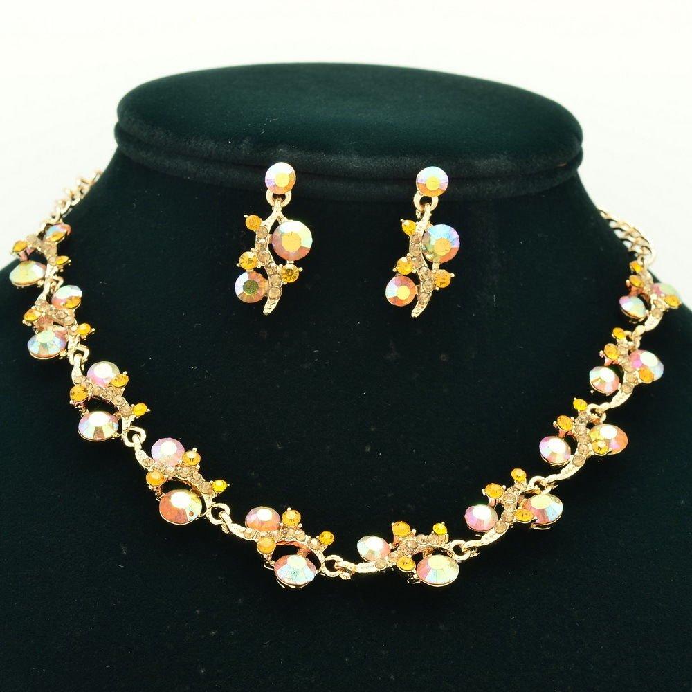 Warm tone Brown Flower Necklace Earring Set Rhinestone Crystal Women Jewelry A18
