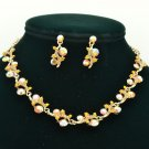 Warm tone Brown Flower Necklace Earring Set Rhinestone Crystal Women Jewelry A18
