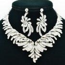 Bridal Wedding Rhinestone Crystal Fancy Flower Necklace Earring Jewelry Set 6731