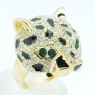 Gold Tone Clear Panther Leopard Cocktail Ring Size 8# Rhinestone Crystals 09184