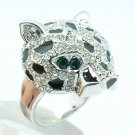 Silver Panther Leopard Cocktail Ring Size 9# Rhinestone Crystal Ball Women 09184