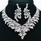 Women Party Jewelry Fashion Flower Necklace Earring Set Rhinestone Crystal  6731