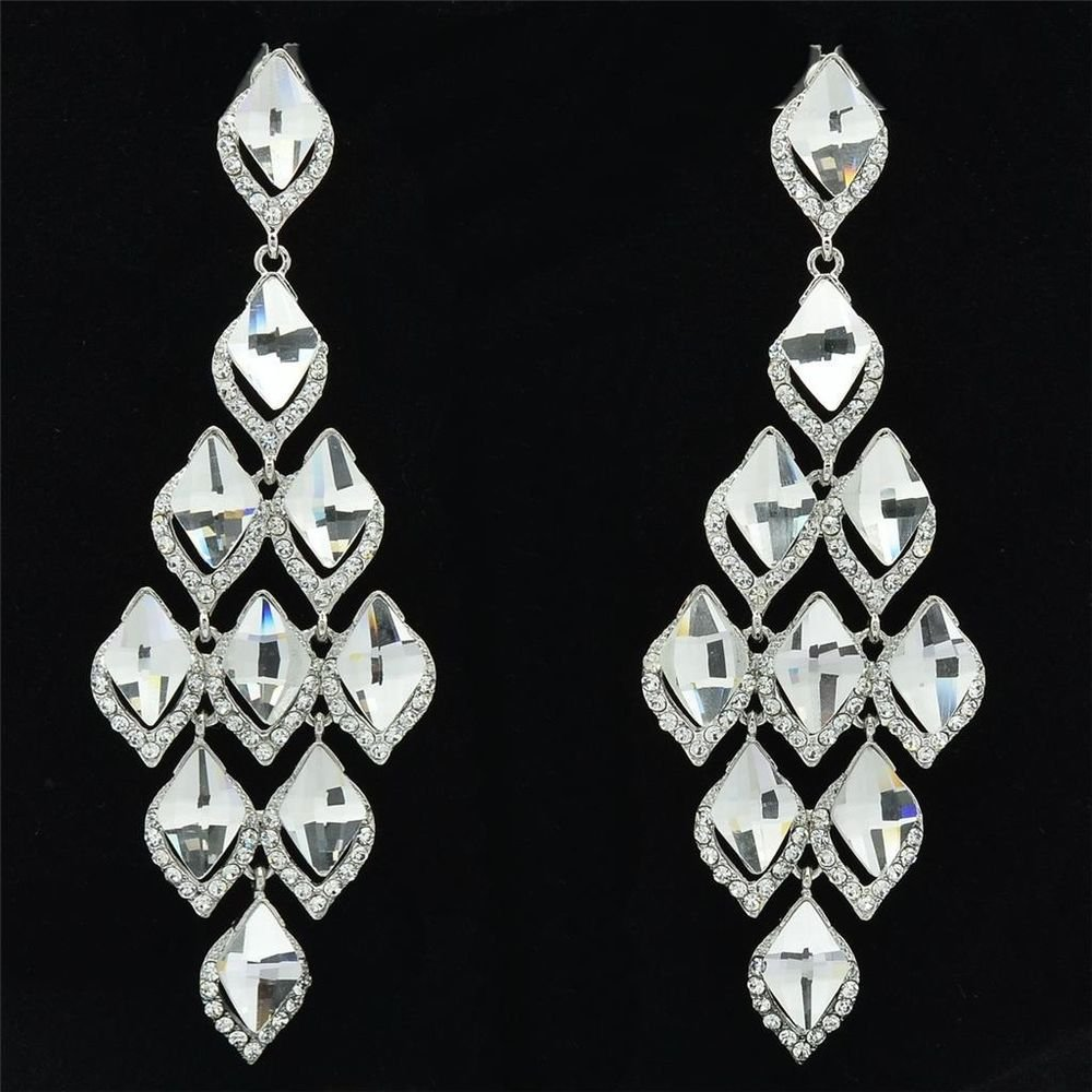 Rhinestone Crystal Ball Jewelry Clear Rhomb Stilli Pierced Dangle Earring 127333