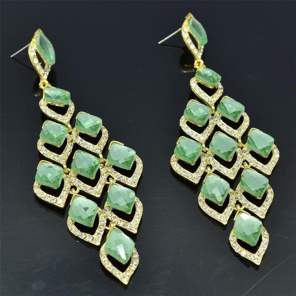 Trendy Women Party Green Flower Pierced Earring Rhinestone Crystal Dangle 127333
