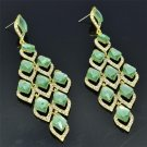 Trendy Women Party Green Flower Pierced Earring Rhinestone Crystal Dangle 127333