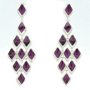 Purple Rhinestone Crystals Exquisite Flower Pierced Earring Dangle Women 127333