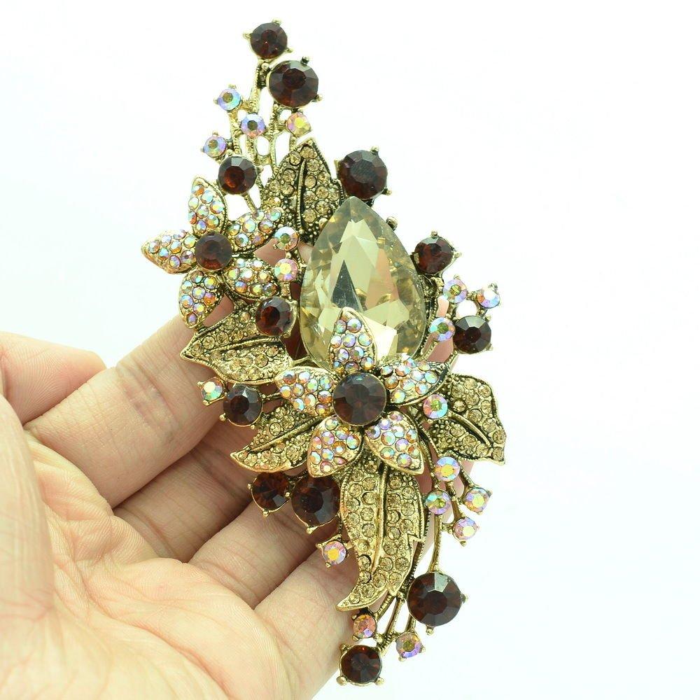 Vintage Glitzy Drop Leaf Flower Brooch Broach Pin Brown Rhinestone Crystal 6405