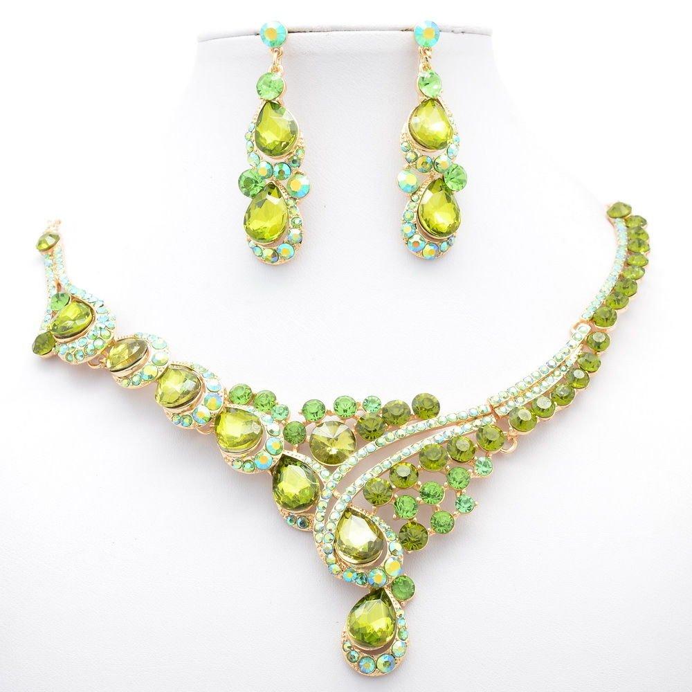 Women Party Jewelry Rhinestone Crystal Graceful Flower Necklace Earring Set 0283