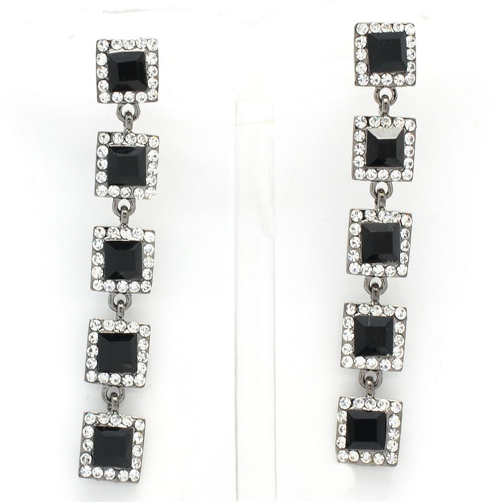 Women Party Prom 5 Black Square Drop Pierced Earrings Rhinestone Crystals 145826