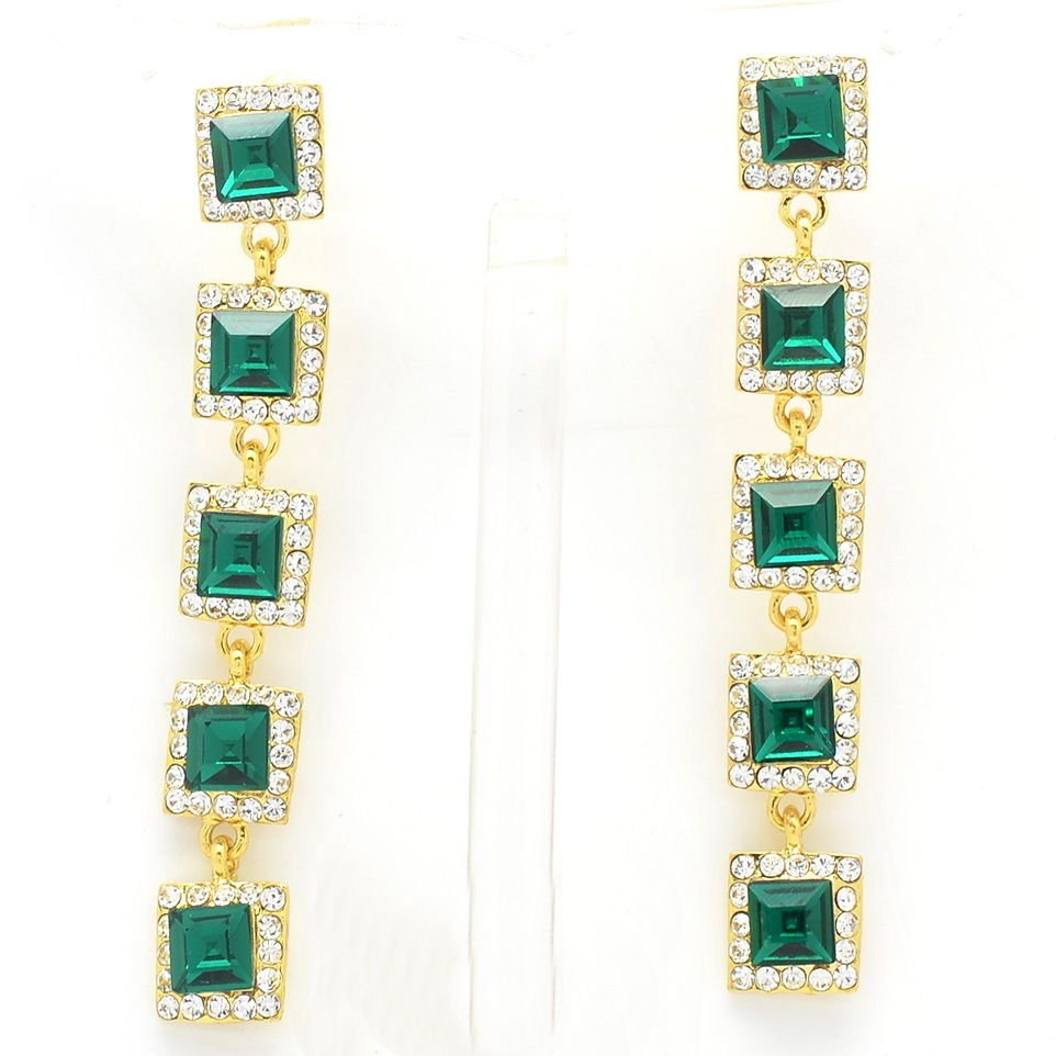 Rhinestone Crystal Grass Green Square Drop Pierced Earring Women Party Prom 5826