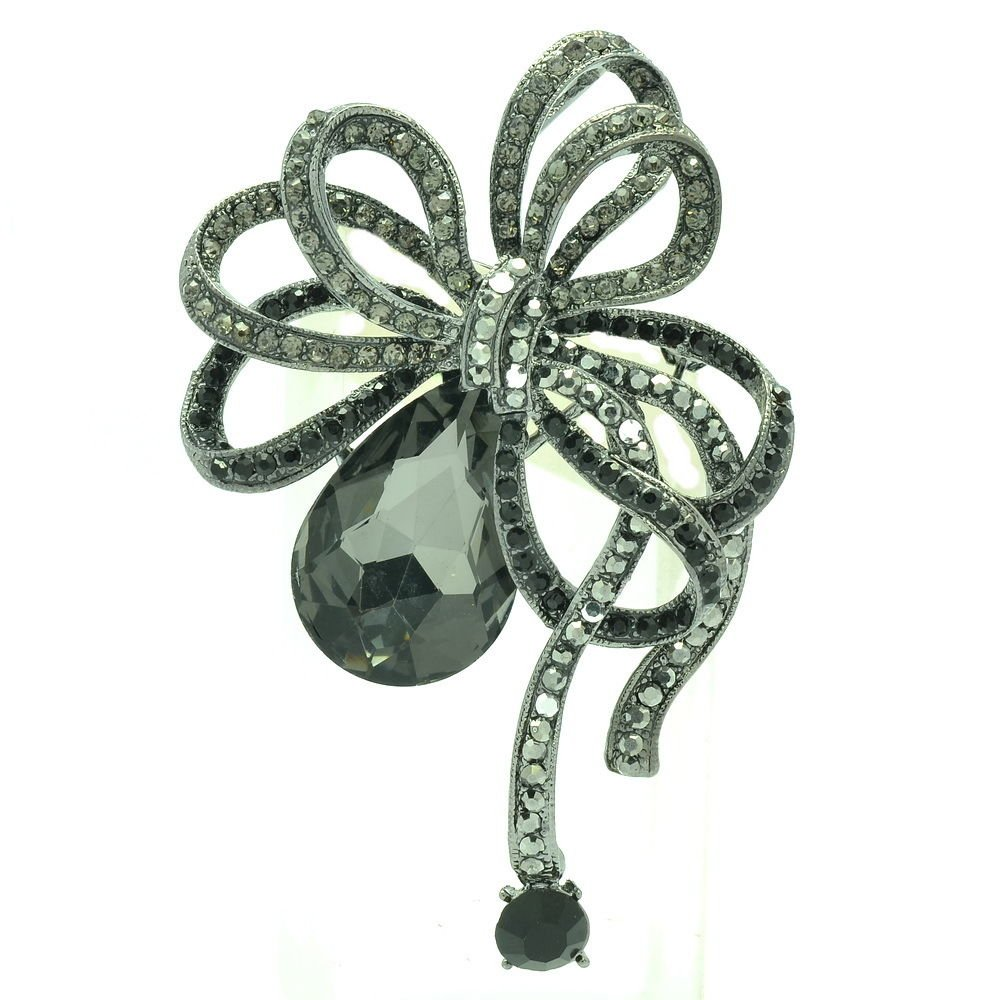 Vintage Flower Bowknot Brooch Pin Rhinestone Crystal Jewelry For Women Prom 6414