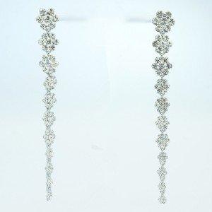 Rhinestone Crystals Cute Clear Long Flower Pierced Earring Dangle 88322