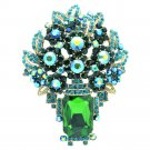Attractive Leaf Flower Brooch Pin Pendant Green Rhinestone Crystals Oblong 6411