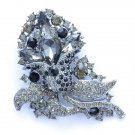 "Chic Black Flower Brooch Broach Pin 3.1"" Rhinestone Crystals Women Jewelry  4226"