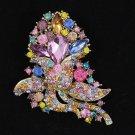 "Rhinestone Crystals Multicolor 3.1"" Pretty Flower Brooch Broach Pin Jewelry 4226"