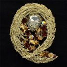 Delicate Brown Flower Brooch Brooch Pin Drop Rhinestone Crystals for Women 4236
