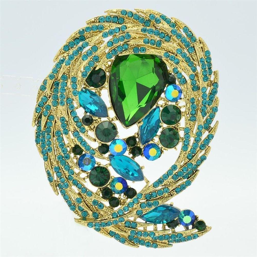 Elegant Drop Rhinestone Crystals Green Flower Brooch Brooch Pin Women Party 4236