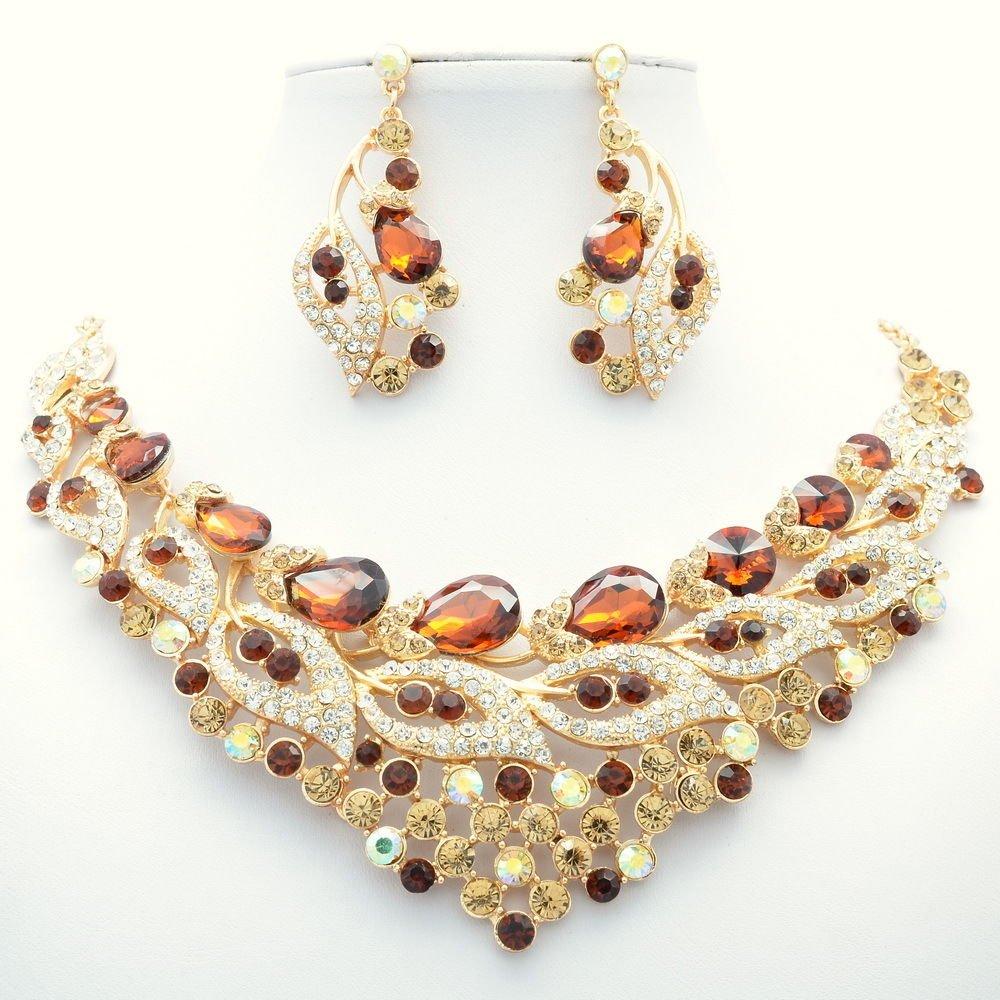 Chic Brown Trim Flower Leaf Necklace Set Rhinestone Crystal Women Jewelry 02777