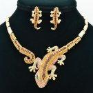 Brown Gecko Lizard  Necklace Earring Set Women Jewelry Rhinestone Crystal FA3274