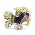 Purple Steed Horse Bracelet Bangle Cuff Rhinestone Crystals Vintage Style FB1047