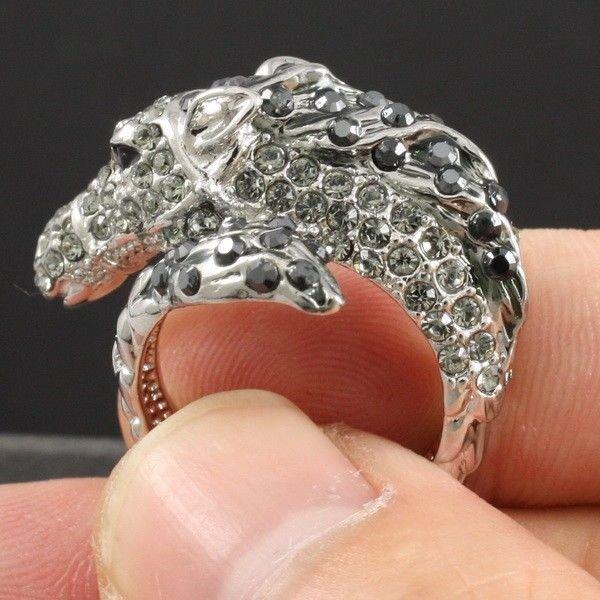 Stunning Gray Swarovski Crystals Cute Animal Horse Cocktail Ring 8# W/  SR1610-2