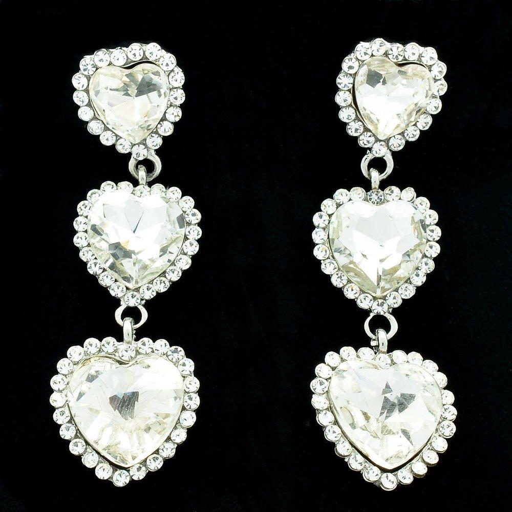 Women Jewelry 3 Heart Drop Earring Wedding Clear Rhinestone Crystals 141322