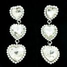 Women Jewelry 3 Heart Drop Earring Wedding Clear Rhinestone Crystals 141322