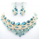 Excellent Blue Trim Flower Necklace Earring Set Rhinestone Crystal Jewelry 02777
