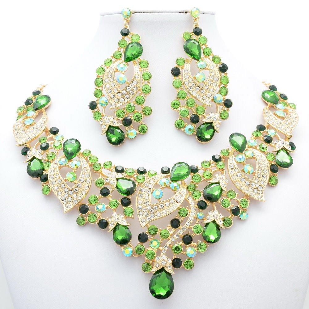 Super Jade Green Rhinestone Crystal Flower Large Leaf Necklace Set Jewelry 02780