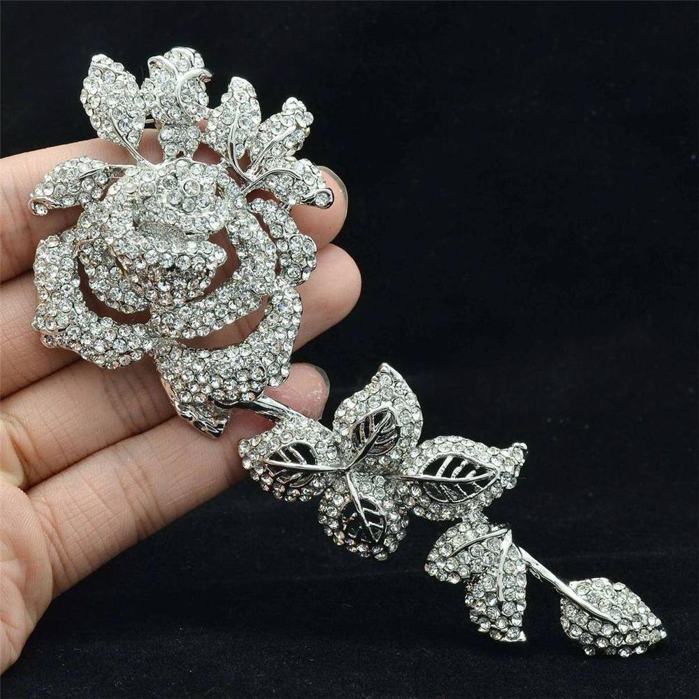 Showy Long Leaf Red Rose Flower Brooch Broach Pin Bridal Rhinestone Crystal 4228