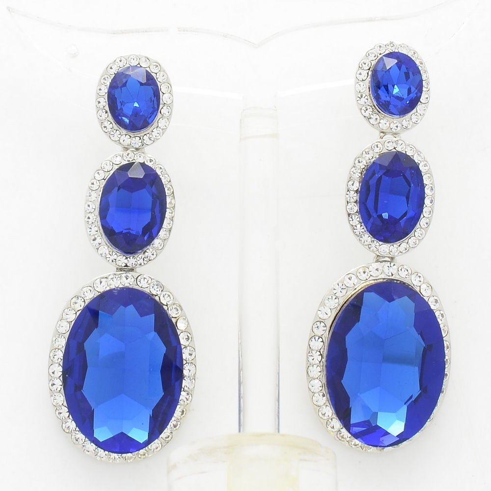 9 Colors Rhinestone Crystal Oval Glass Drop Dangle Pierced Earring  Prom 0326