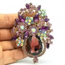 Vintage Drop Purple Rhinestone Crystal Flower Brooch Pin Broach Jewelry 5844