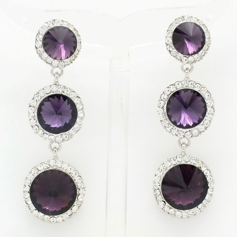 Rhinestone Crystal Grape Purple Round Drop Pierced Earring for Party Prom 138919
