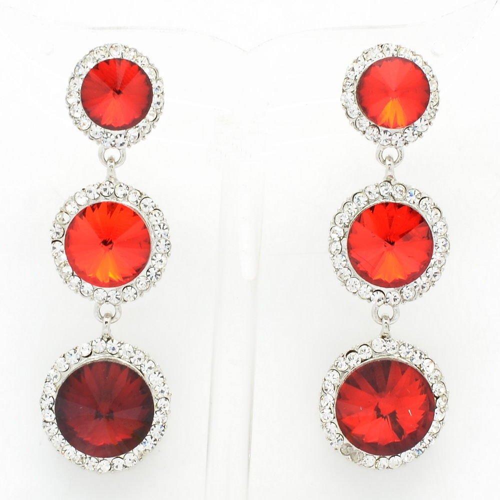 Pretty Red Round Drop Pierced Earring Rhinestone Crystal Prom Women Party 138919