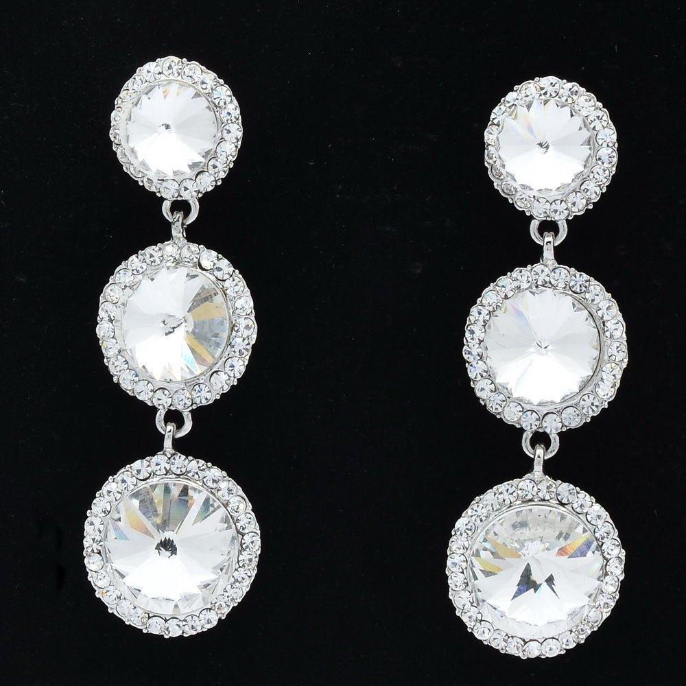 Clear Round Drop Pierced Earring Rhinestone Crystals Wedding Bridal Party 138919