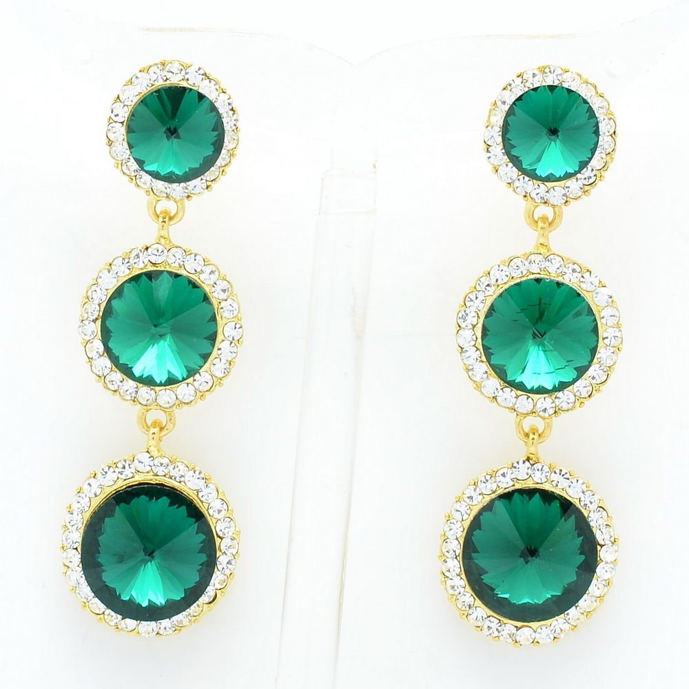 Sea Green Rhinestone Crystals Party Round Drop Pierced Earring Women Prom 138919