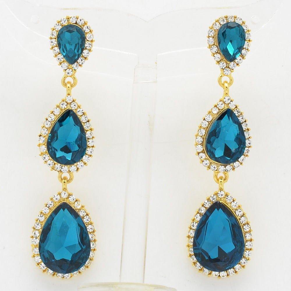 Rhinestone Crystals Women Sea Blue 3 Running Water Drop Pierced Earrings 139520