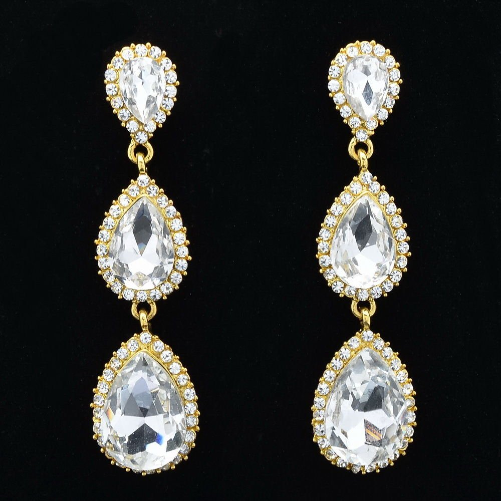 Bridal Clear Water Drop Pierced Earrings Women Dangle Rhinestone Crystals 139520