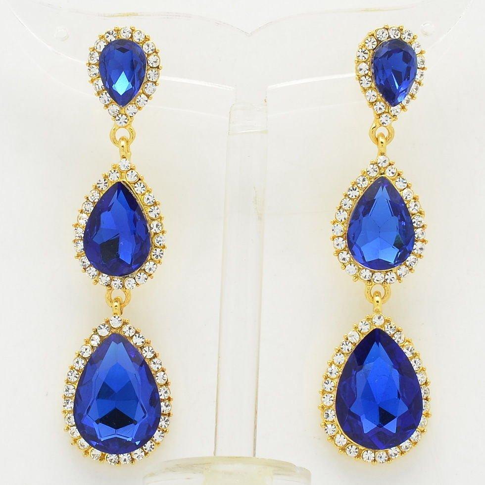 Rhinestone Crystals Party Royal Water Drop Pierced Earrings Dangle Women 139520