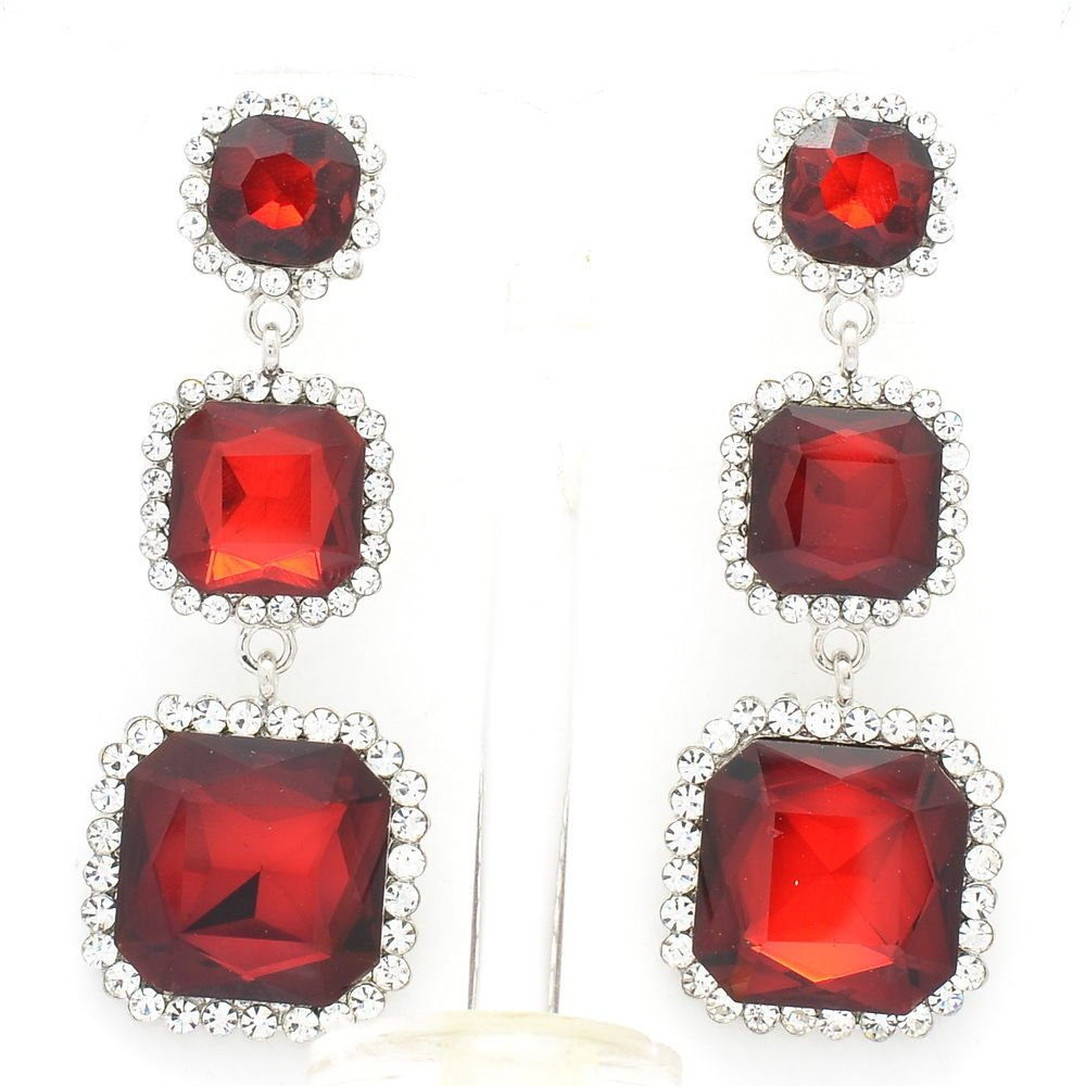 Party Jewelry Red Square Drop Pierced Earrings Women Rhinestone Crystals 141525