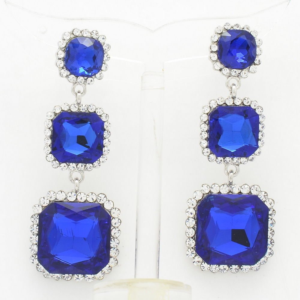 Rhinestone Crystal Elegant Royal Square Drop Pierced Dangle Earring Women 141525